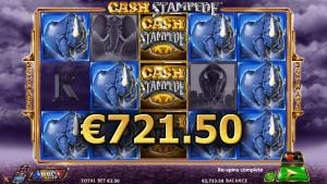 cash stampede kolikkopelistä 721,5€ voitto